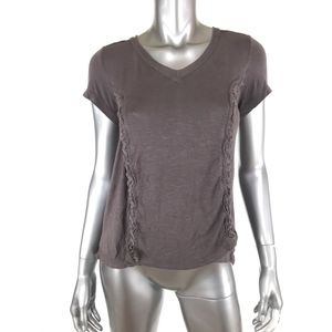 Knox Rose Knit Top XS Gray V Neck Short Sleeve Raw